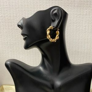 14K Solid Gold Twisted Hoops
